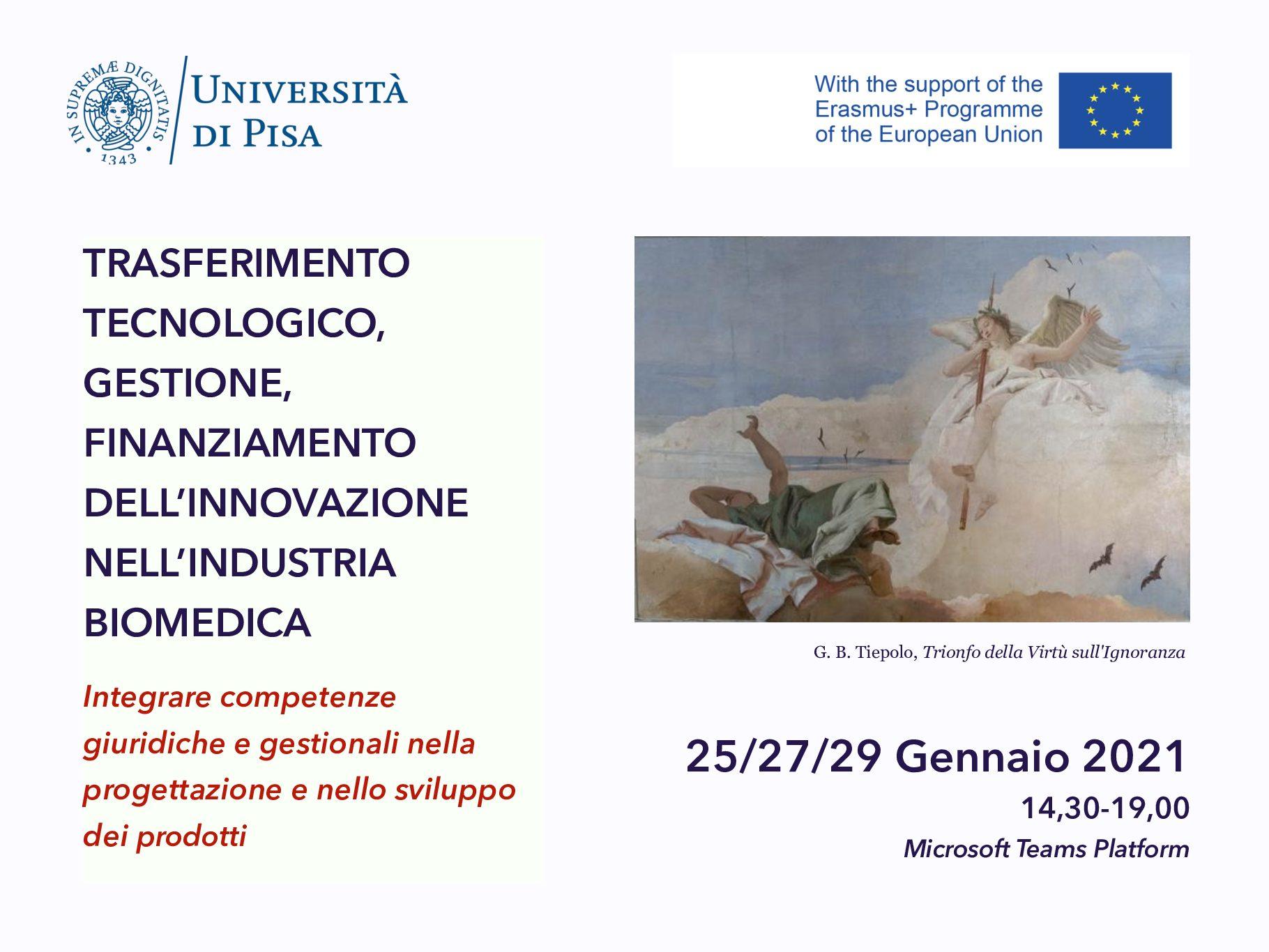 """Corso intensivo """"Trasferimento tecnologico, gestione, finanziamento dell'innovazione nell'industria biomedica"""" – 25/27/29 gennaio 2021"""