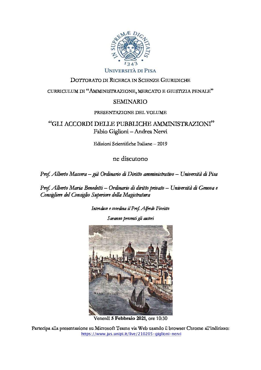 Gli accordi delle pubbliche amministrazioni – 5 febbraio 2021
