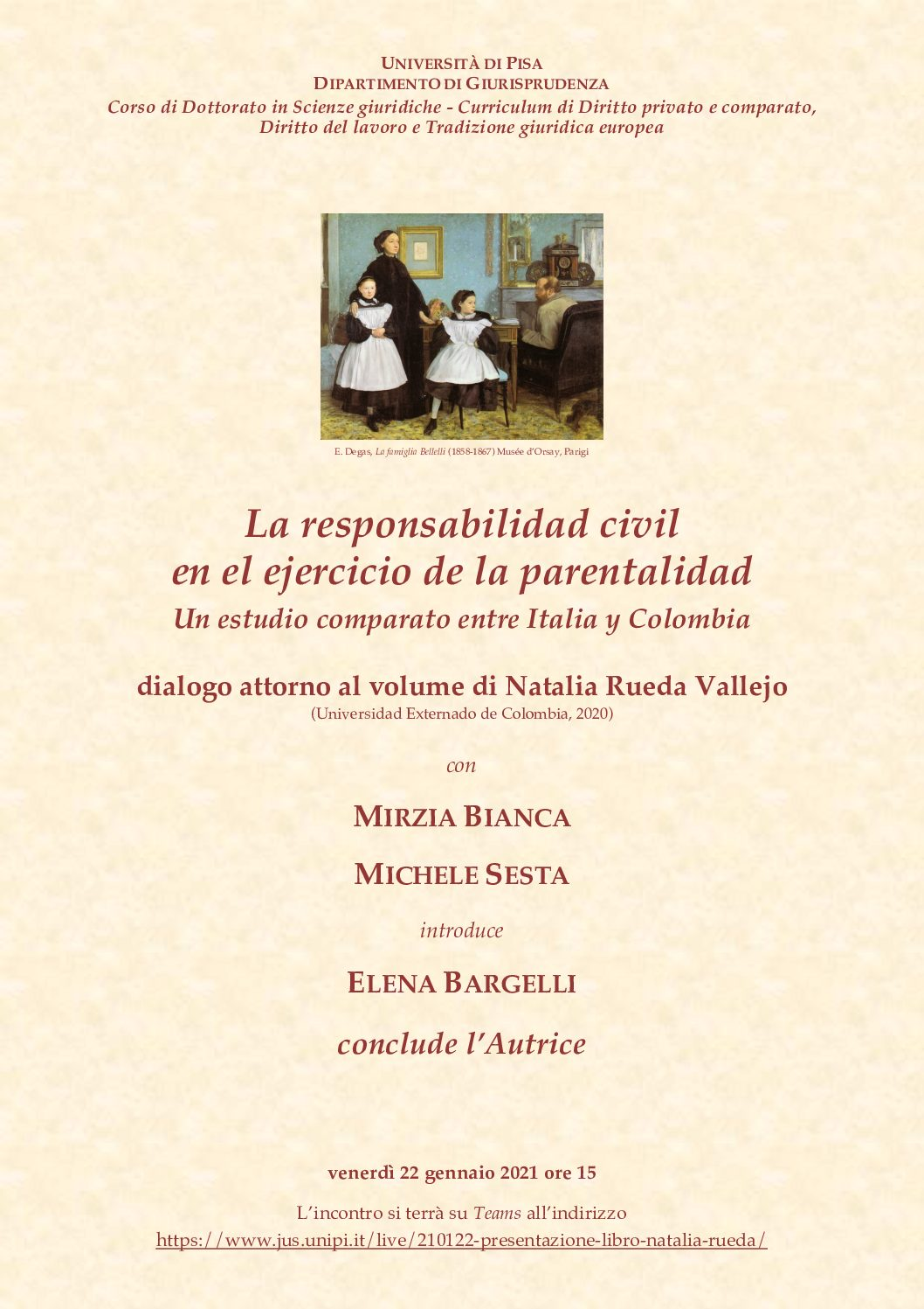 """Presentazione del volume di Natalia Rueda Vallejo """"La responsabilidad civil en el ejercicio de la parentalidad"""" – 22 gennaio 2021"""